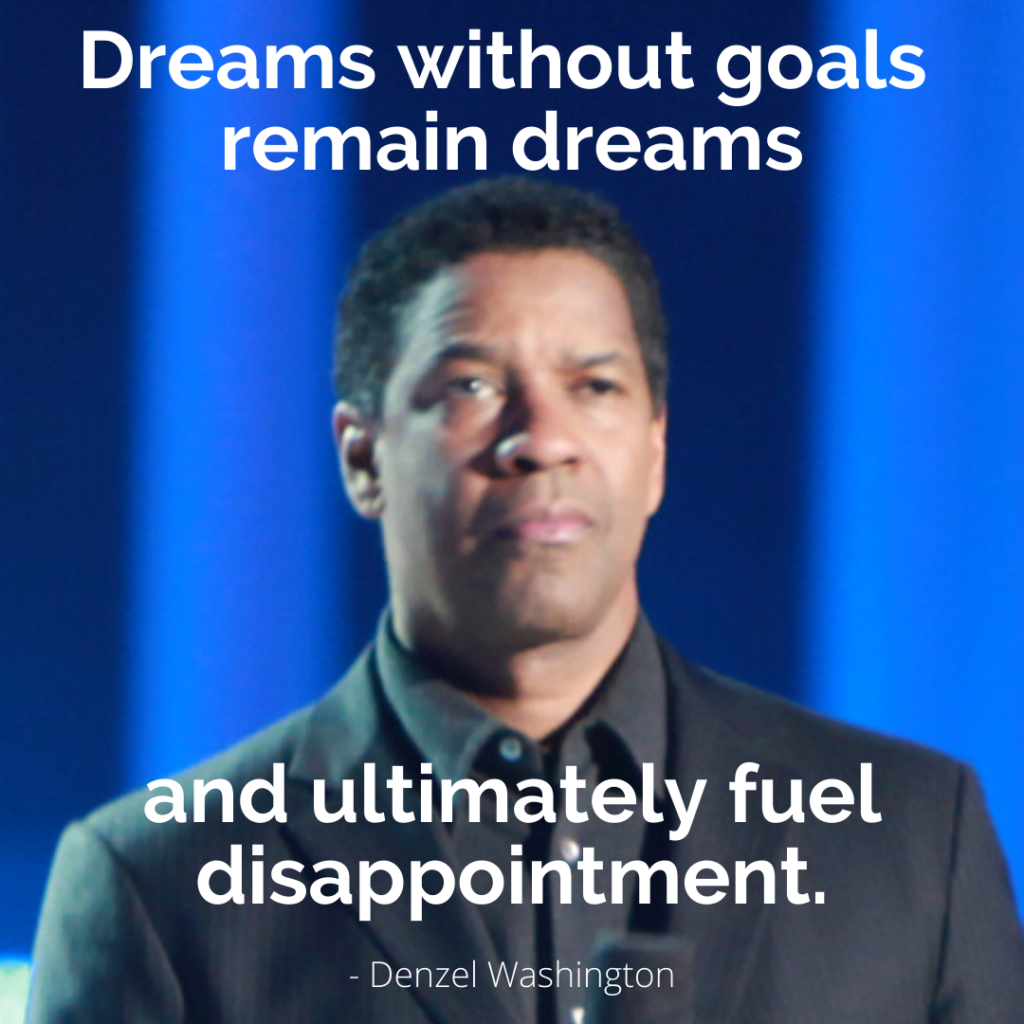 """Dreams without goals remain dreams and ultimately fuel disappointment"" - Denzel Washington, quote image created and used under Creative Commons license."